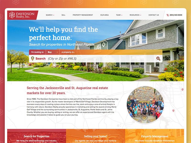 Davidson Realty, Inc. Website real estate design ux ui website