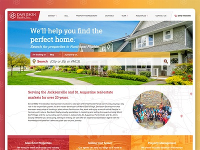 Davidson Realty, Inc. Website real estate design ux ui website