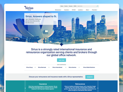 Sirius Group Website Design reinsurance insurance responsive design website