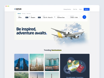 Keplre - Airlines Website Concept design logo airlines interface interaction ux ui