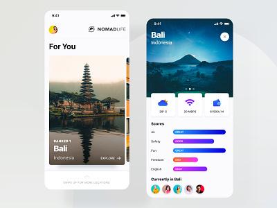 Nomad Life Mobile Application Concept application gradient community app visual design ios app ios app design mobile app design mobile ui colorful interface interaction app ux ui design