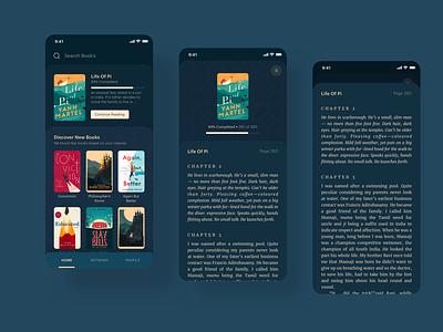 Virtual Library App Concept card design library blue interface interaction app ui ux ebook