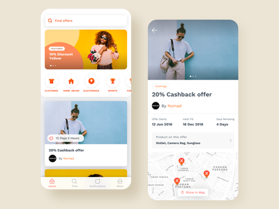 Offer Discovery App locality map location offers offer colorful interface interaction app ui ux design