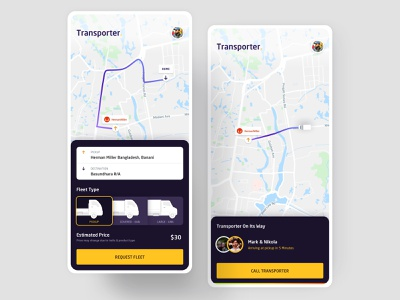 Truck Rental App trade transport logistics fleet trucks truck interaction app ui ux design