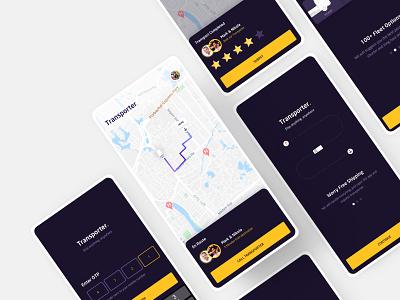 Transporter App: Rating And Walkthrough interface trucks rental app rentals purple user experience userinterface rental truck login app ui ux design