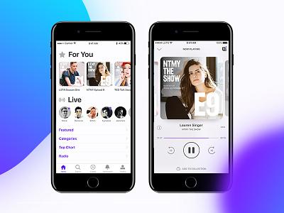 LSTN Podcast App Concept design audio listen simple colour product interaction interface podcast ux ui