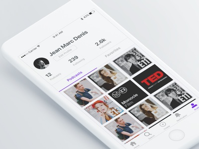 Profile Page - LSTN Podcast App design audio contect user profile product interaction interface podcast ux ui