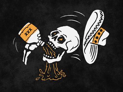Happy Cinco De Mayo! illustration spirits drinking sombrero tequila skull skeleton