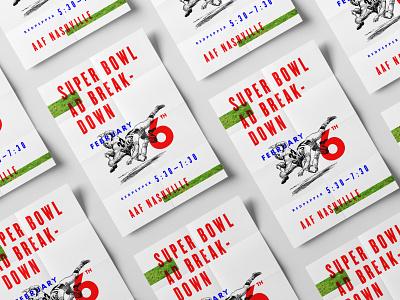 AAF Superbowl Ad Review poster design type illustration collage typography nashville aaf panel discussion advertising super bowl poster