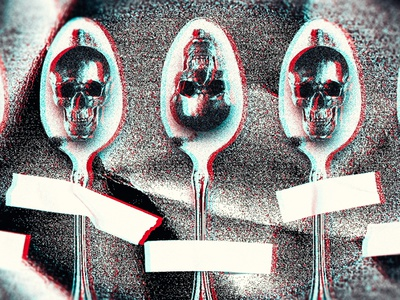 Mind your spoons anaglyph grain grit spoons skulls digital collage collage