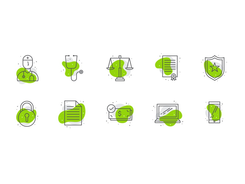 Icon Set sparkle abstract shape technology money monoline icon law medical