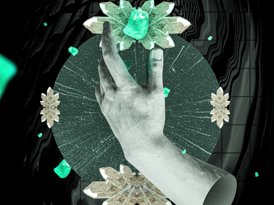Poster Sketch 5 abstract space crystals hand digital collage poster collage