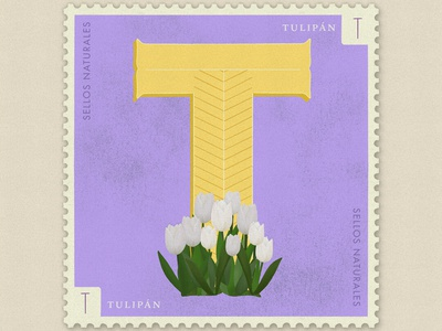 Letter T · Tulipán · #36daysoftype #SellosNaturales