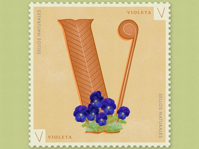 Letter V · Violetas · #36daysoftype #SellosNaturales