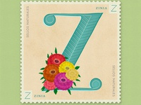 Letter Z · Zinia · #36daysoftype #SellosNaturales