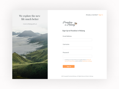 Paradise in Malang - Sign Up Page (Travel Website) signup page signup travel app booking app invisionstudio figma adobexd malang travelwebsite webdesign uiuxdesign