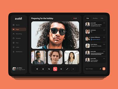 Online Events App (Zuddl Redesign) online call video meeting event ui