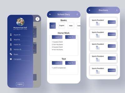 school learning  management app screen design