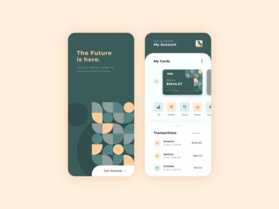 Banking App Design branding concept vector icon set illustrations modern ui ux uxui geometric illustration banking app app design app shapes branding