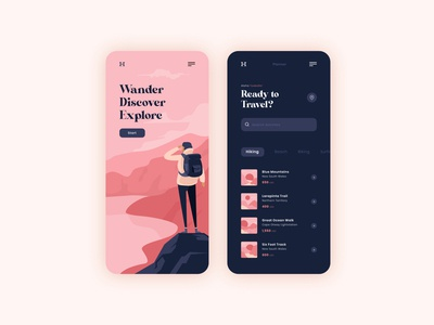 Travel App Design travel app pastel beach hiking illustrator shapes app travel flat modern mobile app design mobile app ui ux vector illustration branding