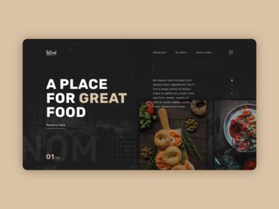 Restaurant Website branding concept flat dark mode dark theme dark ui uxui ux minimal design food restaurant website web design web