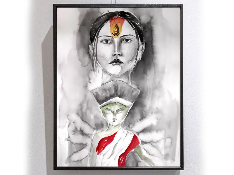 The Painting of Goddess Durga woman durga painting watercolor sketch design illustration creative artwork art