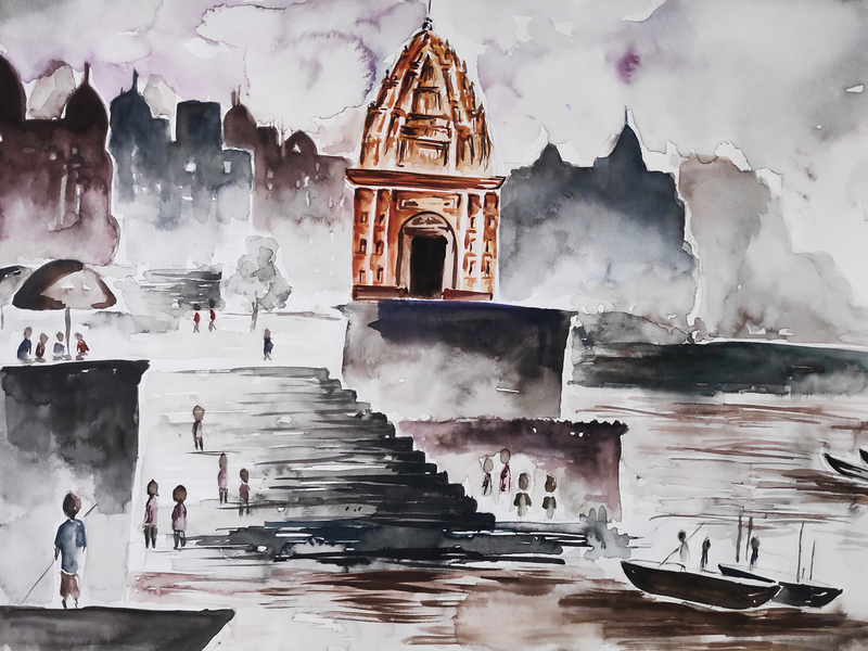 The Temple illustration watercolor painting design creative artwork art