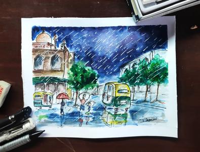 Delhi Street - Water Color painting watercolor design illustration creative artwork art