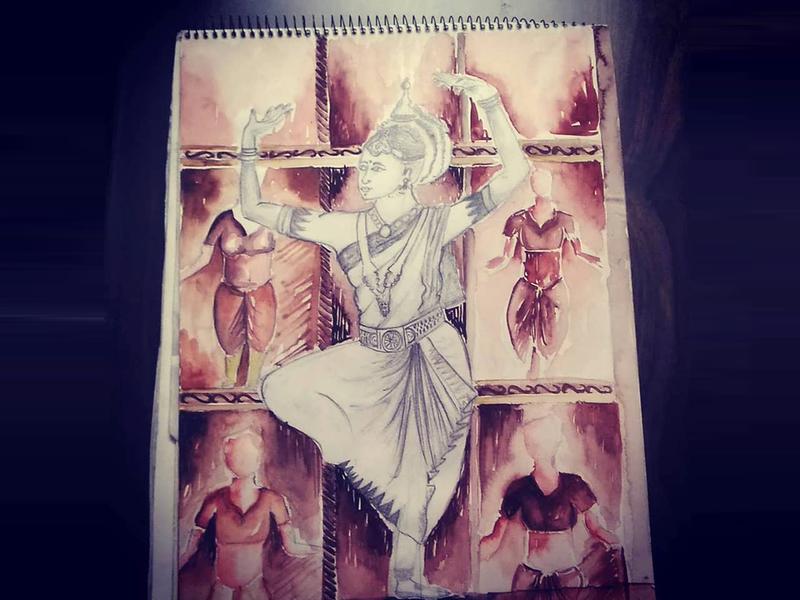 Mix Media dance bharatnatyam branding brand classical watercolor creative design illustration artwork art sketch design creative 2d
