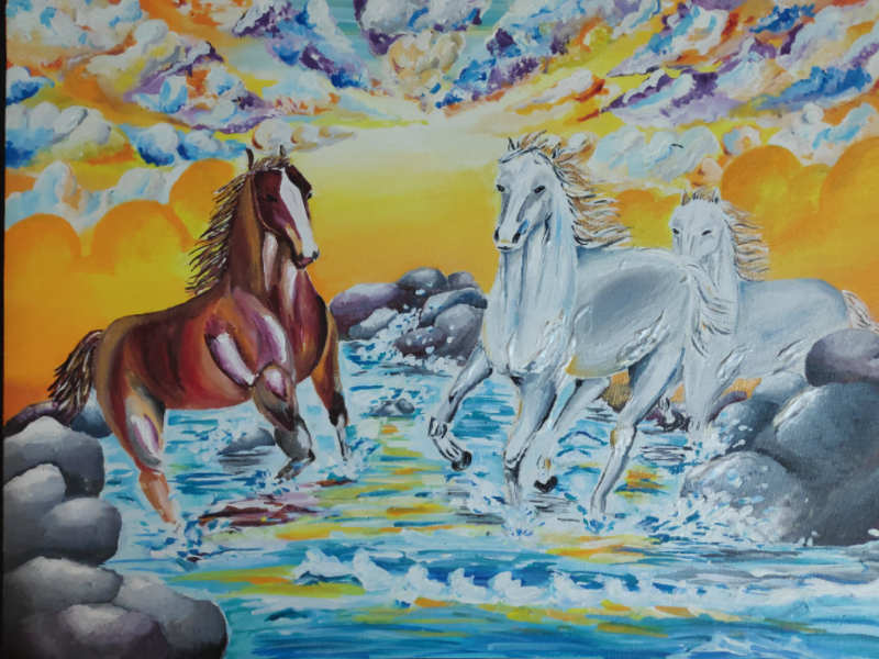 Canvas- Horses acrylic color horses canvas