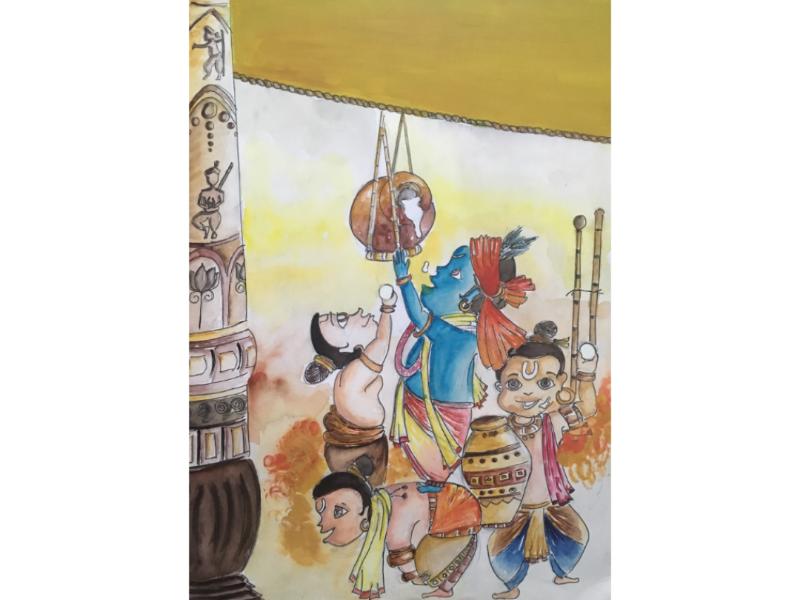 Lord Krishna painting water color krishna art