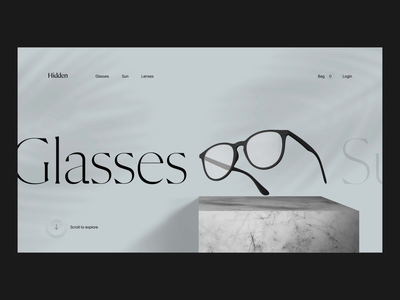 Glasses glasses shop neomorphism shadow webgl web design after effect ecommerce store animation landing cinema4d 3d layout clean slider logo grid ui typography