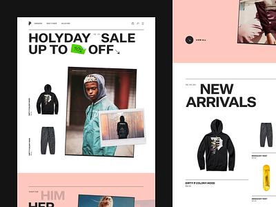 Primitive editorial shop ecommerce logo web design web landing minimal layout slider blog magazine article grid typography ui