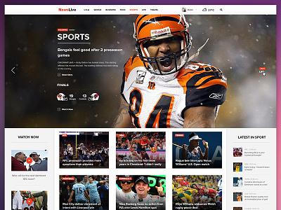 Newslive Web content web ux ui slider icon football flat news weather sport