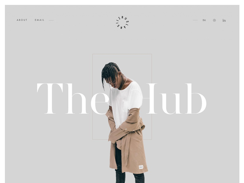 The Hub website ui clean fashion logo typography slider title