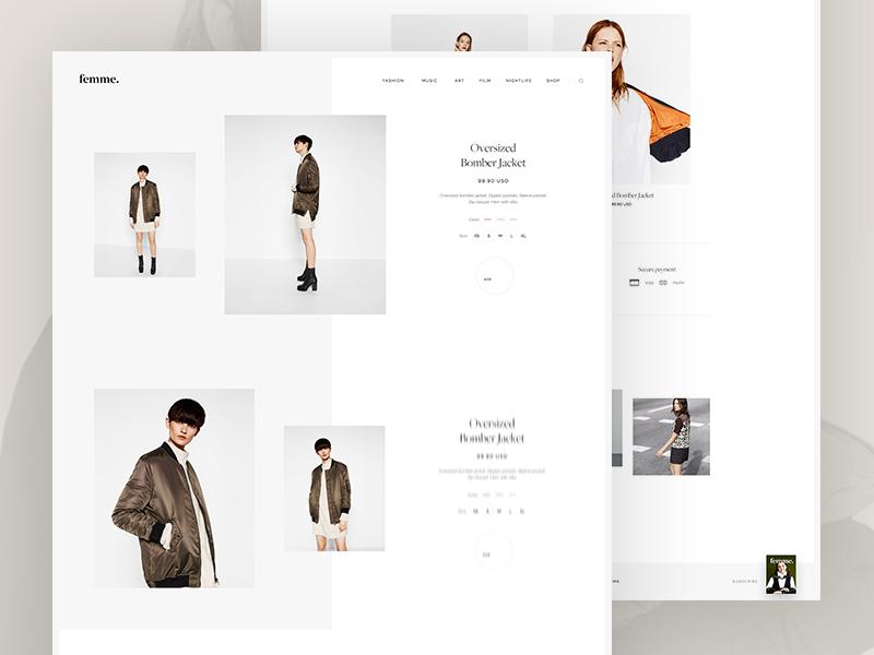 Femme magazine clean fashion instagram logo grid ecommerce layout minimal typography