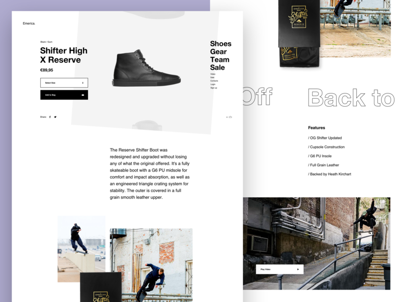 Emerica - PDP reviews logo skate web shop minimal typography product page grid layout ecommerce