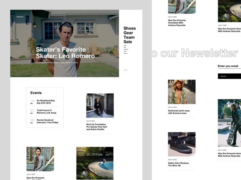 Emerica Blog eccomerce web typography grid layout magazine journal skate article news blog