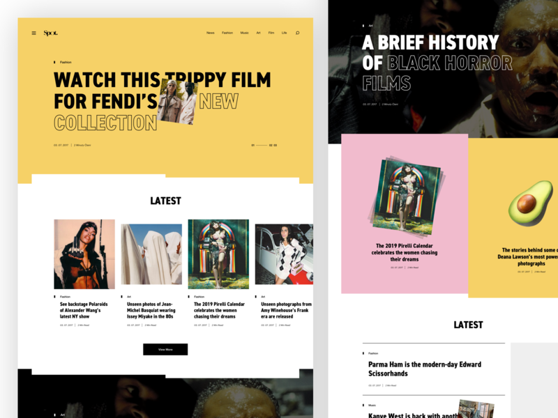 Spot font web ux ui minimal grid editorial post typography tag layout news blog article