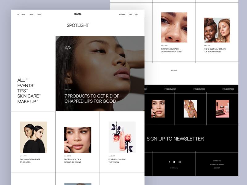 COMA - Spotlight ecommerce minimal web design article news spotlight blog layout typography slider clean grid ui