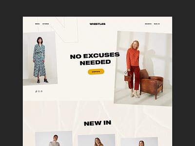 Whistles fashion product article lookbook editorial shop ecommerce flat landing layout slider logo grid ui typography branding web design