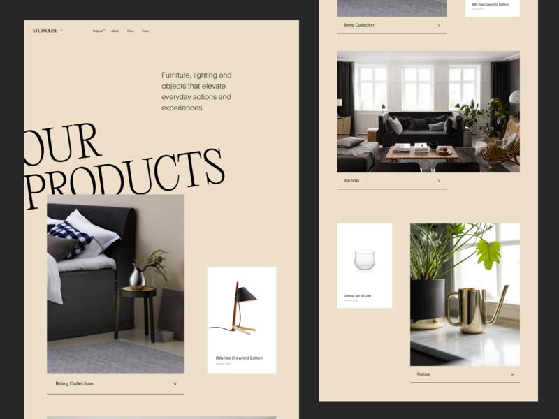 STUDIOLISE - PLP portfolio agency studio magazine ux ui products shop ecommerce landing minimal layout slider clean logo grid typography