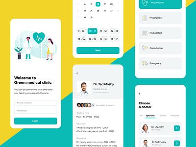 Green medical clinic mobile ui mobile app doctor clinic health medical uidesign ui app design app