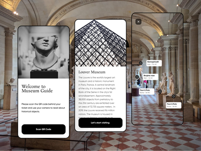 AR - Museum guide augmentedreality uidesign ui app design ui design museum mobile app mobile ui app augmented reality