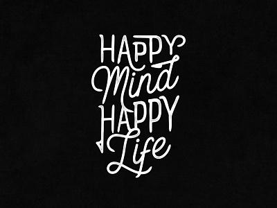 Happy Mind Happy Life art minimal clean ui ux vector illustration font branding typography type logo lettering design
