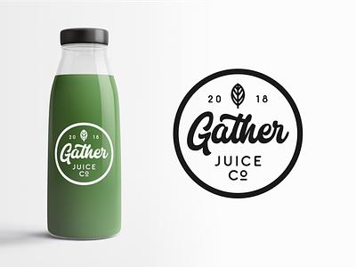 Gather Juice Co Packaging flat clean packaging typography vector branding illustration lettering logo design
