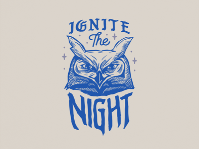 Ignite The Night retro distressed vintage artwork owl logo owl animal branding lettering type vector typography illustration design logo
