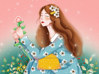 The girl holding the flower