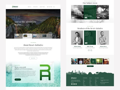 React - organization that works on innovation and climate issues landing app clean minimal design ux ui desktop environment technology innovations educations climate control react landing page web design web website design