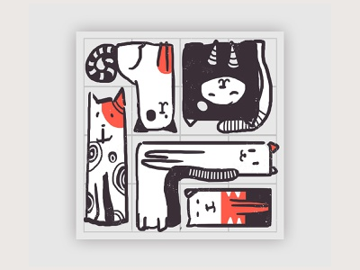 Cats Organized Neatly - Sketch 1 ux flat design flat icon flat vector design ux vector art ui traditional illustration traditional sketch scribble minimalistic art minimalismus minimal icon vector illustration design app cats